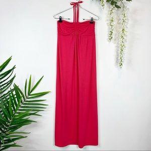 OLD NAVY maternity maxi dress halter top pink 1126